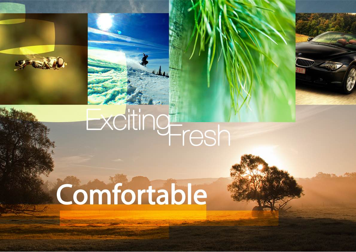 Mood board showing 'exciting, fresh, comfortable'